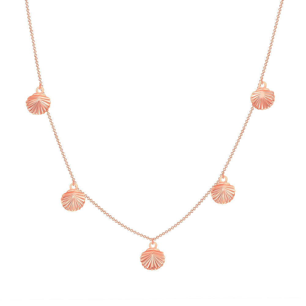 14k rose gold shell chain necklace