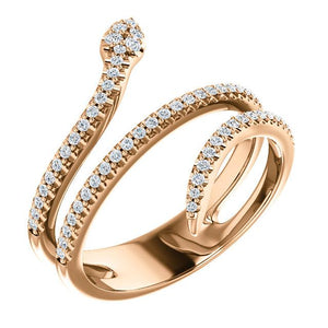 14k rose gold snake diamond ring