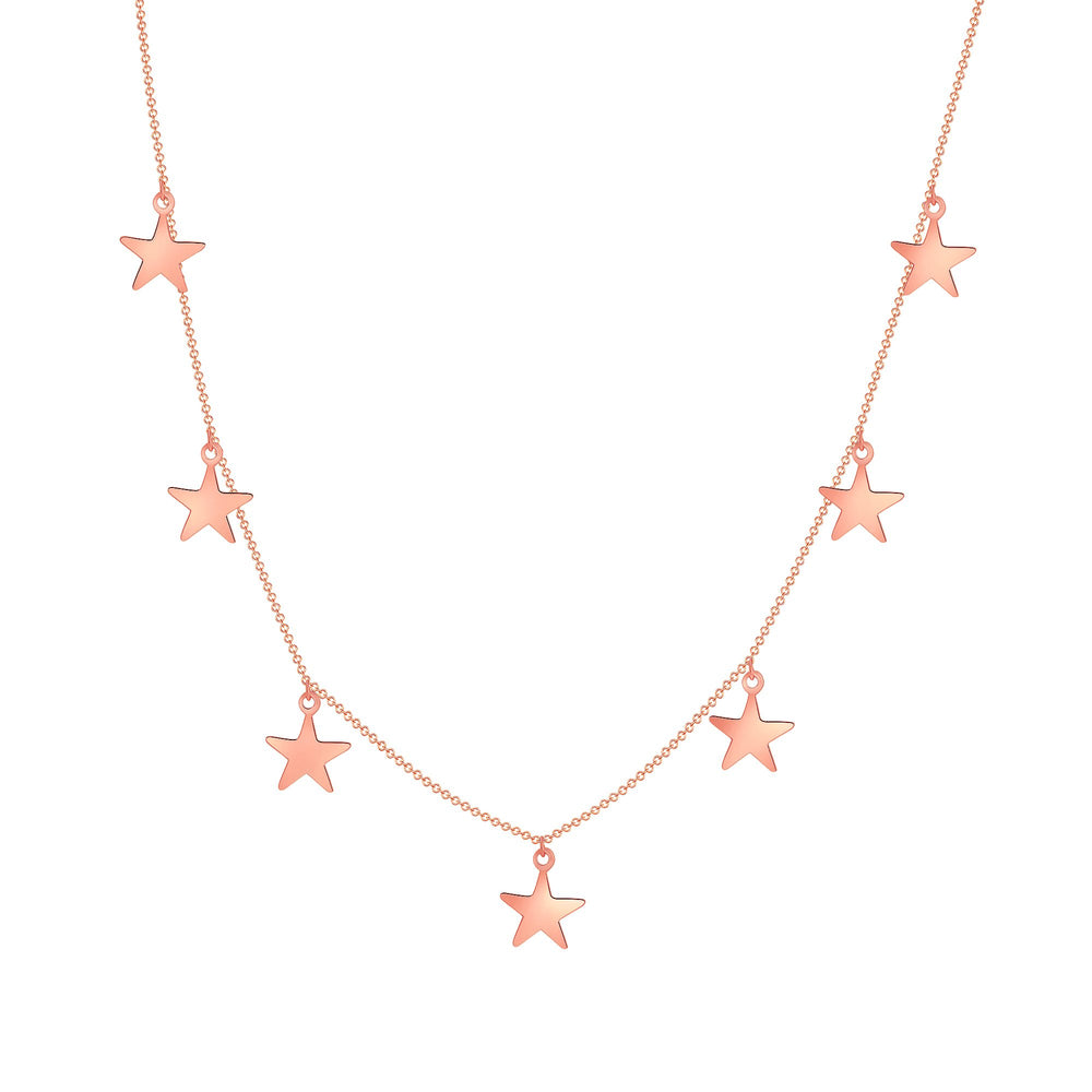 14k rose gold star chain necklace