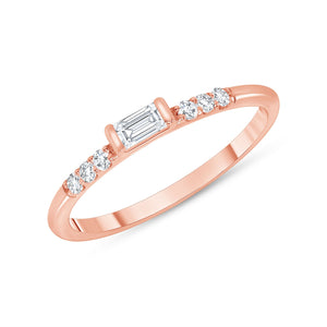 14k rose baguette diamond ring