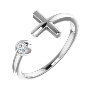 14k white bezel diamond cross cuff ring