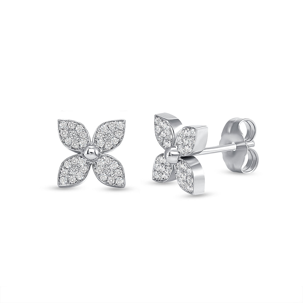 14k white flower diamond earrings