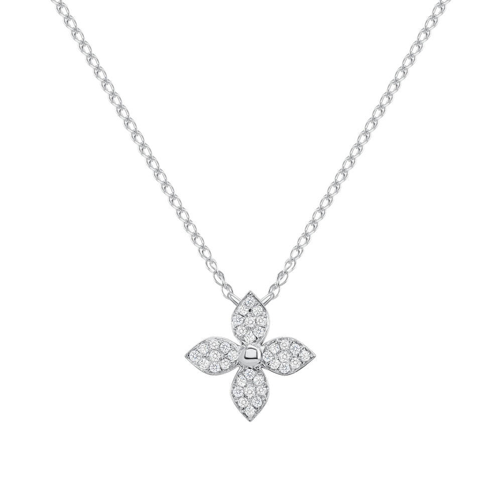 14k white flower diamond necklace