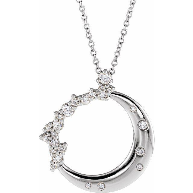 14k white crescent moon diamond pendant necklace