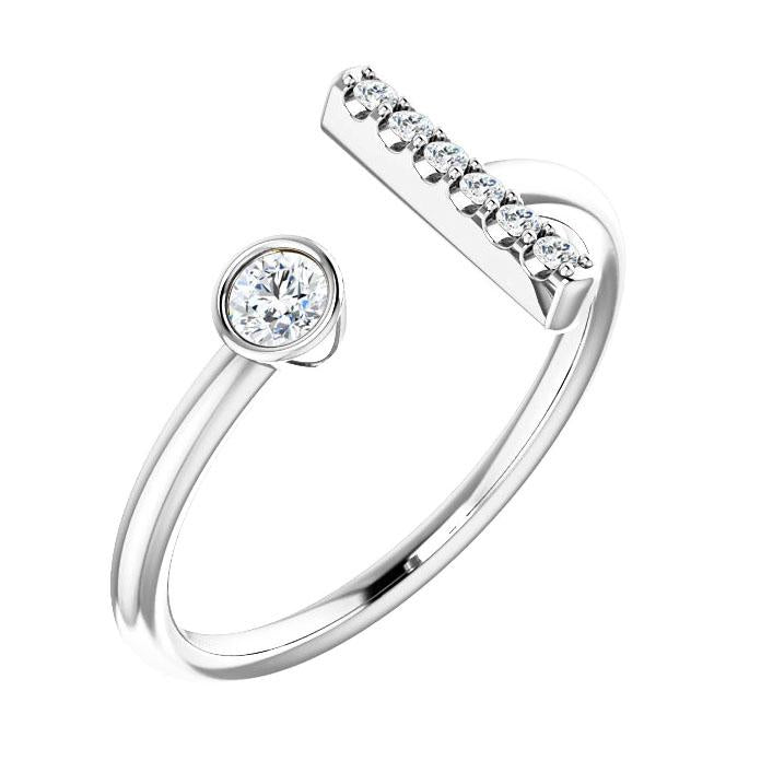 diamond bar cuff ring