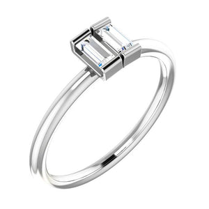 14k white gold double baguette diamond ring