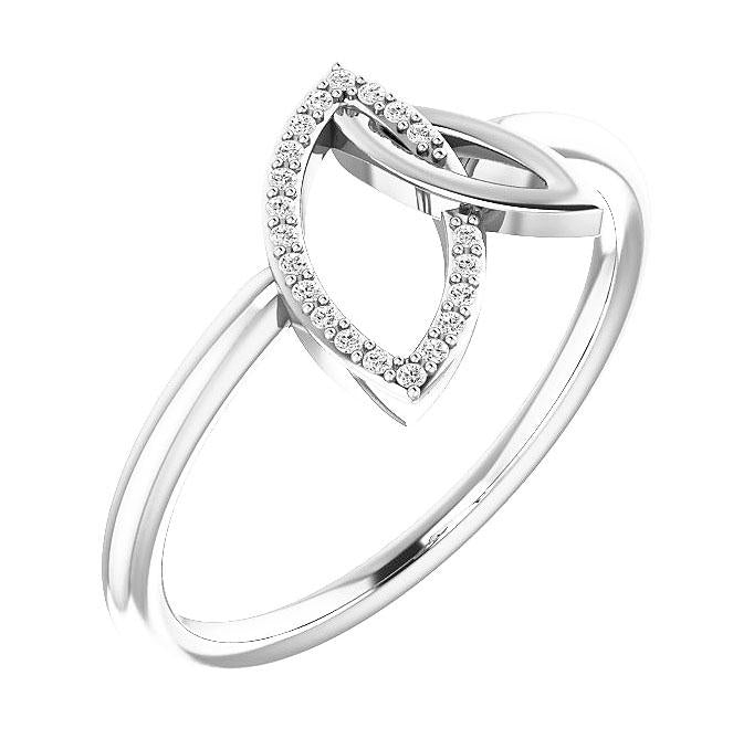 14K White Gold Double Leaf Diamond Ring