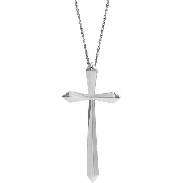 14k white gold elongated cross necklace