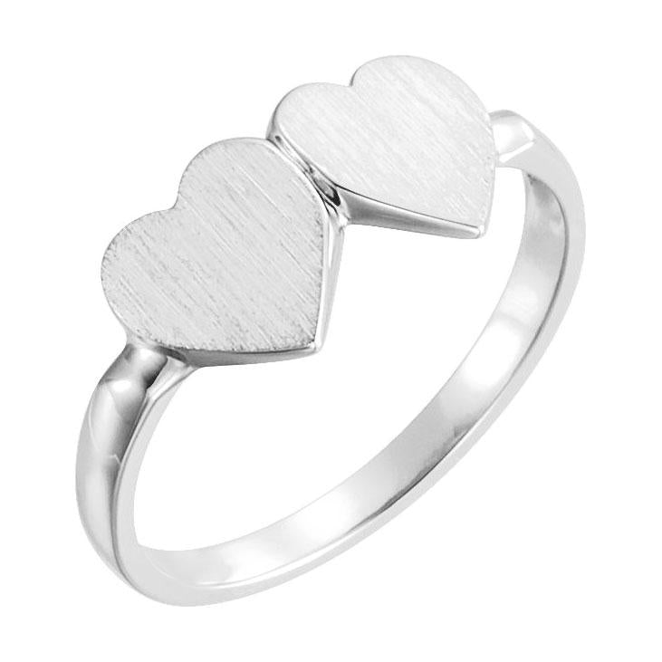 14k white double heart ring