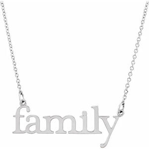 14k white gold family necklace