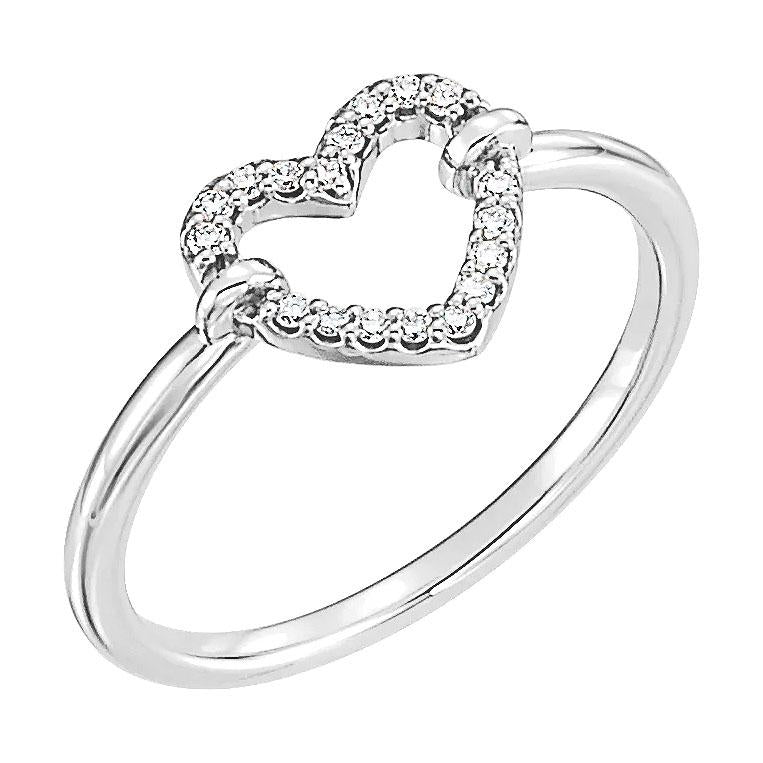 14k white diamond heart ring