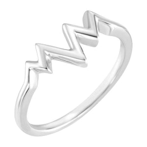 14k white gold heartbeat ring