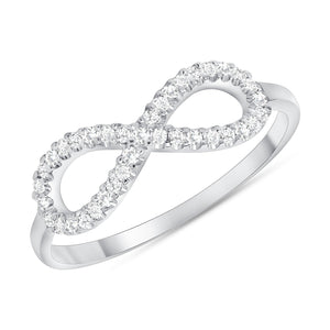 14k white gold infinity diamond ring