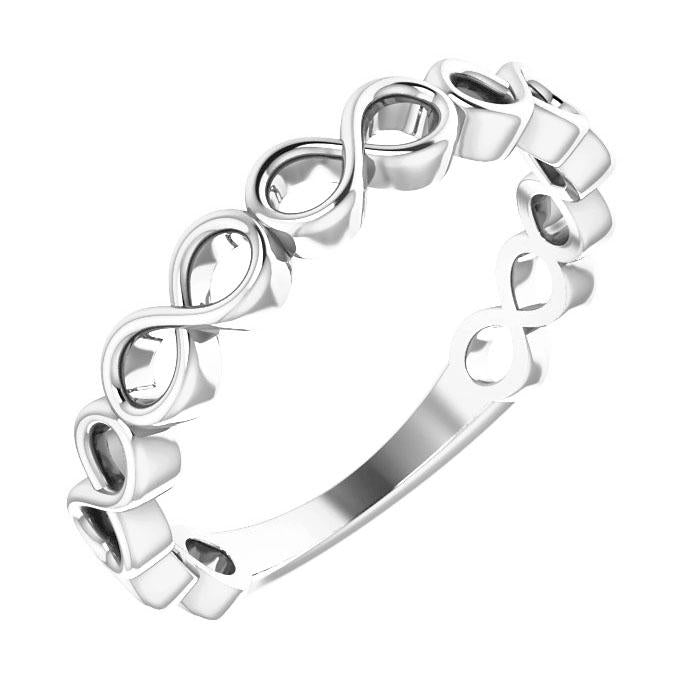 14k white gold infinity stack ring