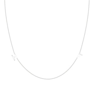14k white gold dainty initial necklace