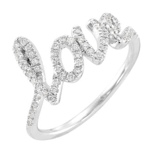 14k white gold script love ring