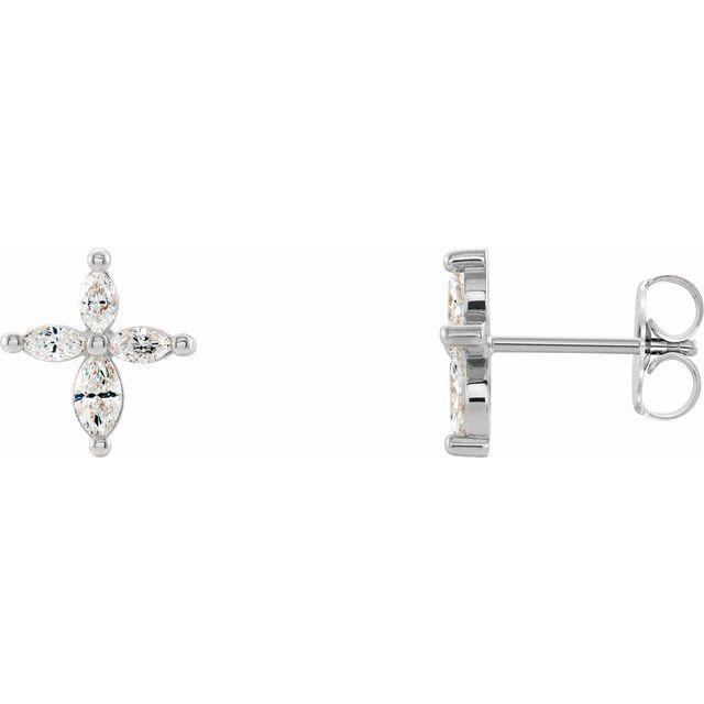 14k white gold marquise cross diamond earrings