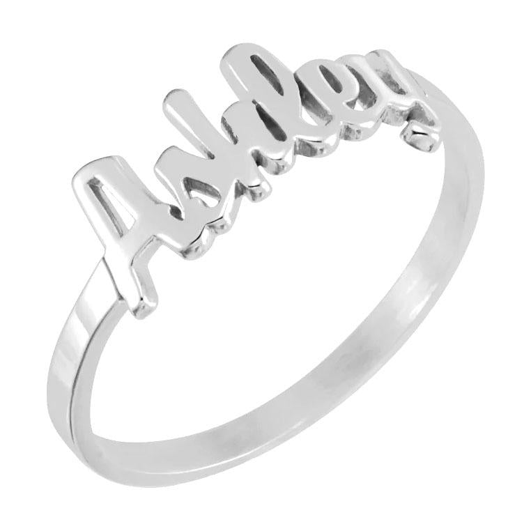 14k white gold script name ring