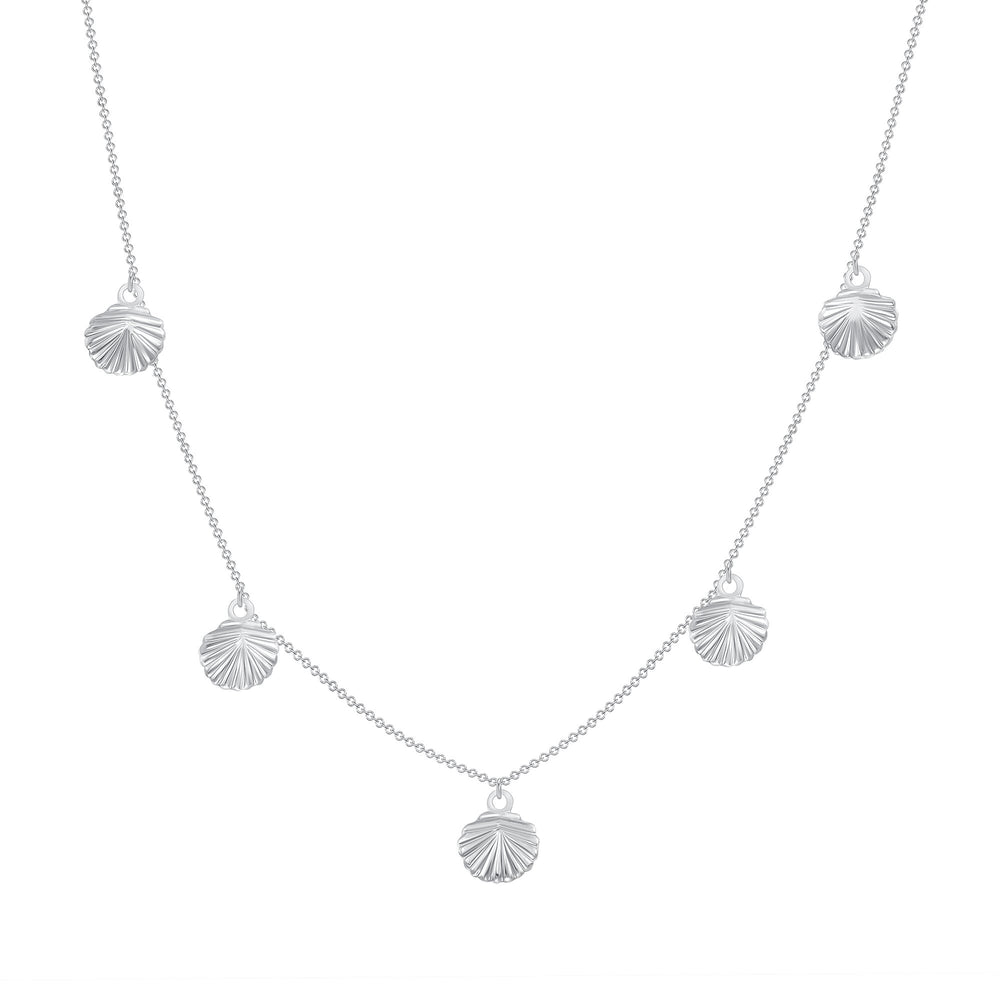14k white gold shell chain necklace
