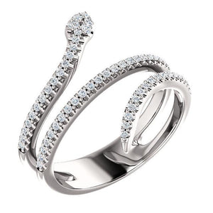 14k white gold snake diamond ring