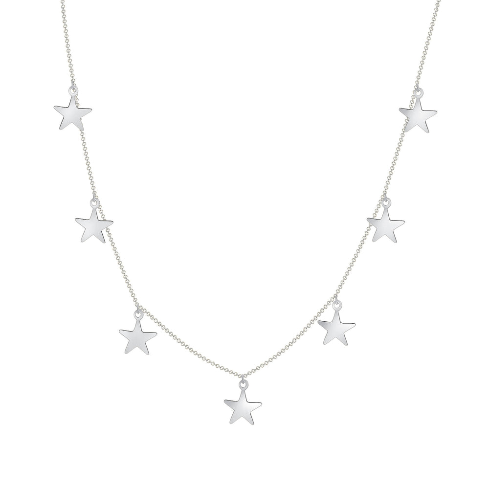 14k white gold star chain necklace