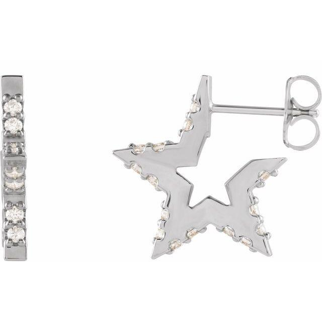 14k white gold star diamond huggie hoops