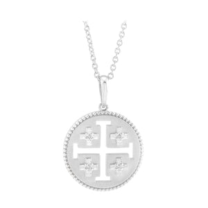 14k white gold Jerusalem necklace