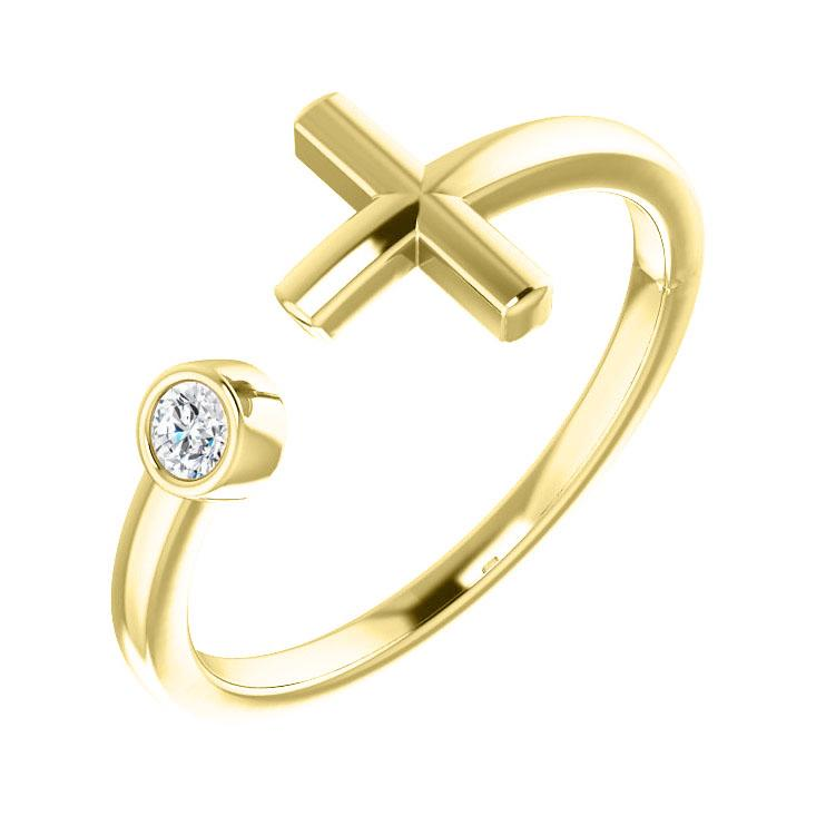 14K Yellow Gold Bezel Diamond Cross Cuff Ring