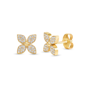 14k yellow flower diamond earrings