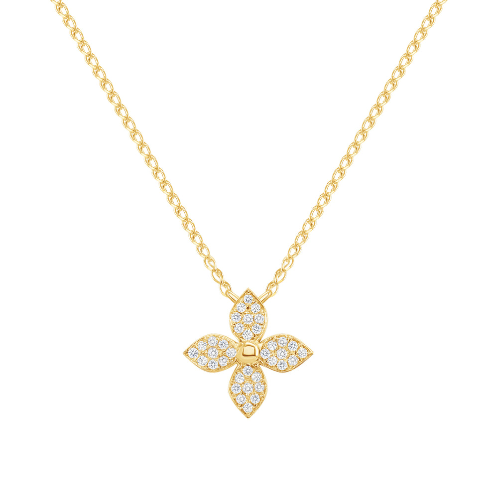 14k yellow flower diamond neckace