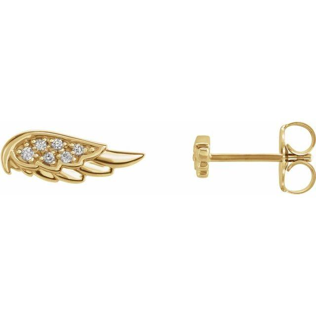 14k yellow gold angel wing diamond earrings