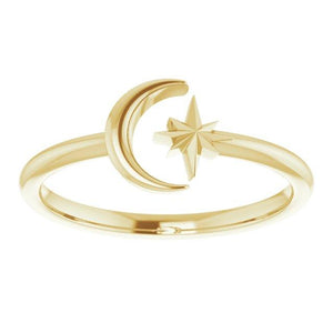 14k yellow gold crescent moon and star ring