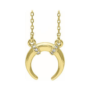 14k yellow gold crescent diamond necklace