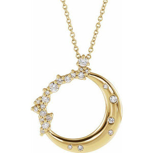 14k yellow crescent moon diamond pendant necklace