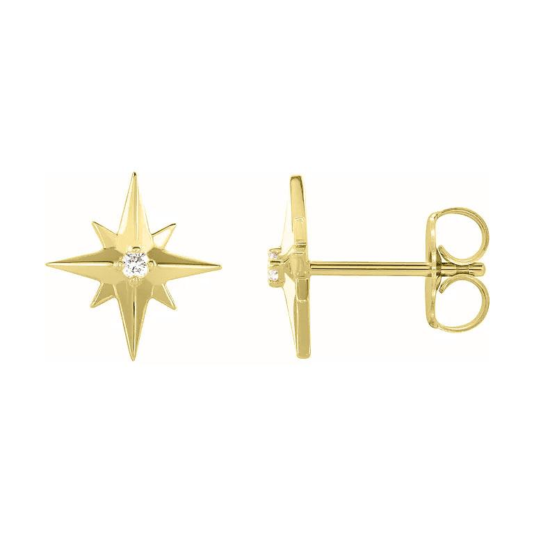 gold star diamond earrings