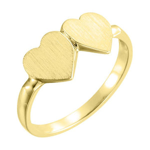14k yellow double heart ring