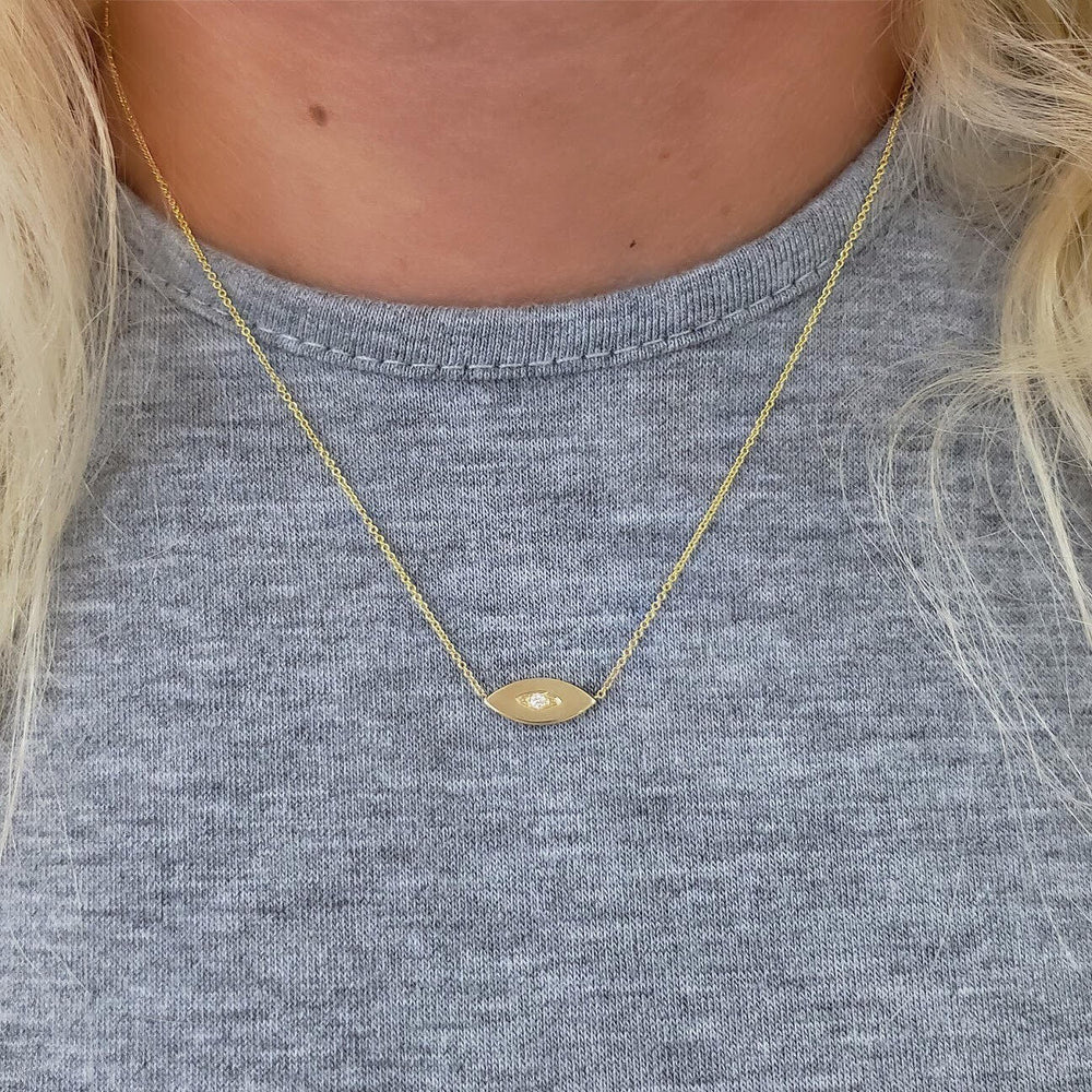 14k evil eye diamond necklace
