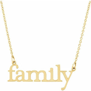 14k yellow gold family necklace