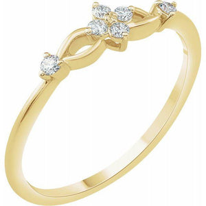 14k yellow gold flower diamond and loop ring