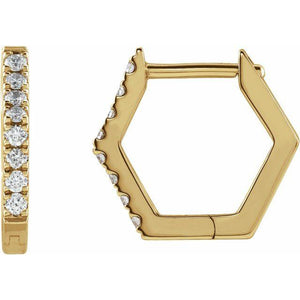 14k yellow gold geometric hoop diamond earrings