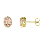 morganite and diamond halo stud earrings