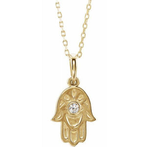 14k yellow gold hamsa diamond necklace