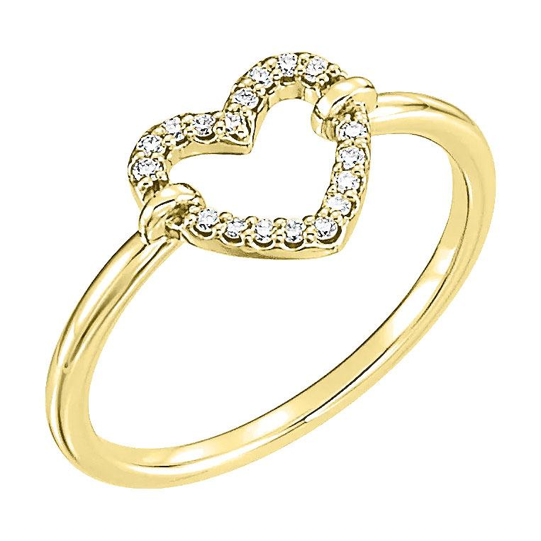 14k yellow diamond heart ring