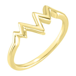 14k yellow gold heartbeat ring