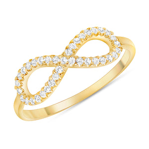 14k yellow gold infinity diamond ring