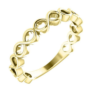 14k yellow gold infinity stack ring
