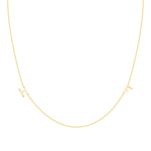 14k yellow gold dainty initial necklace