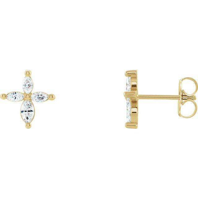 14k yellow gold marquise cross diamond earrings