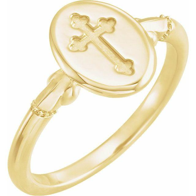 Oval Cross Signet Ring