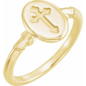 14k yellow gold oval cross signet ring